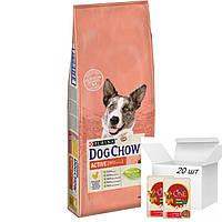 Dog Chow Active 14 кг  + 20 шт*100г беззерновые паучи Purina One для собак