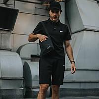 Мужской комплект Кепка, Футболка (поло), Шорты черный (в стиле) Барсетка (ПОДАРОК)