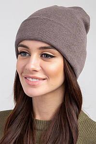 Стильная женская зимняя шапка с отворотом - Артикул 2565