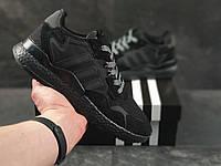 Черные кроссовки Adidas Nite Jogger Boost 3M Black в стиле Адидас Джогер Буст, мужские демисезонные