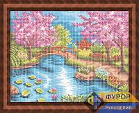 Схема для вышивки бисером - Цветущая сакура у озера, Арт. ПБп3-045