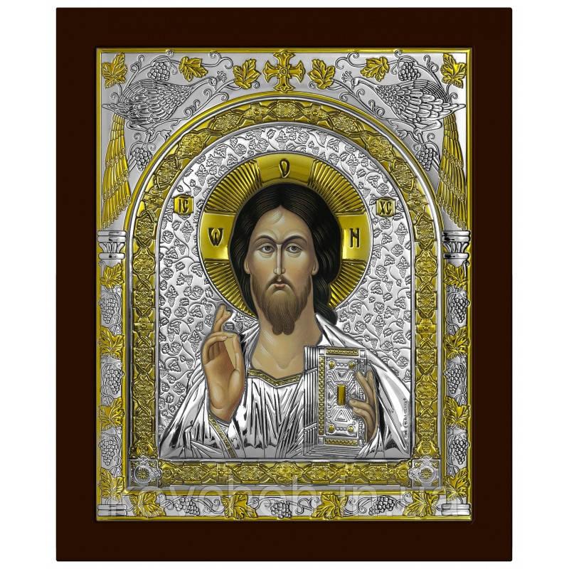 Ікона Спаситель Грецька Розмір-11x13 Срібна-925 Иконы Серебро Греция Лик