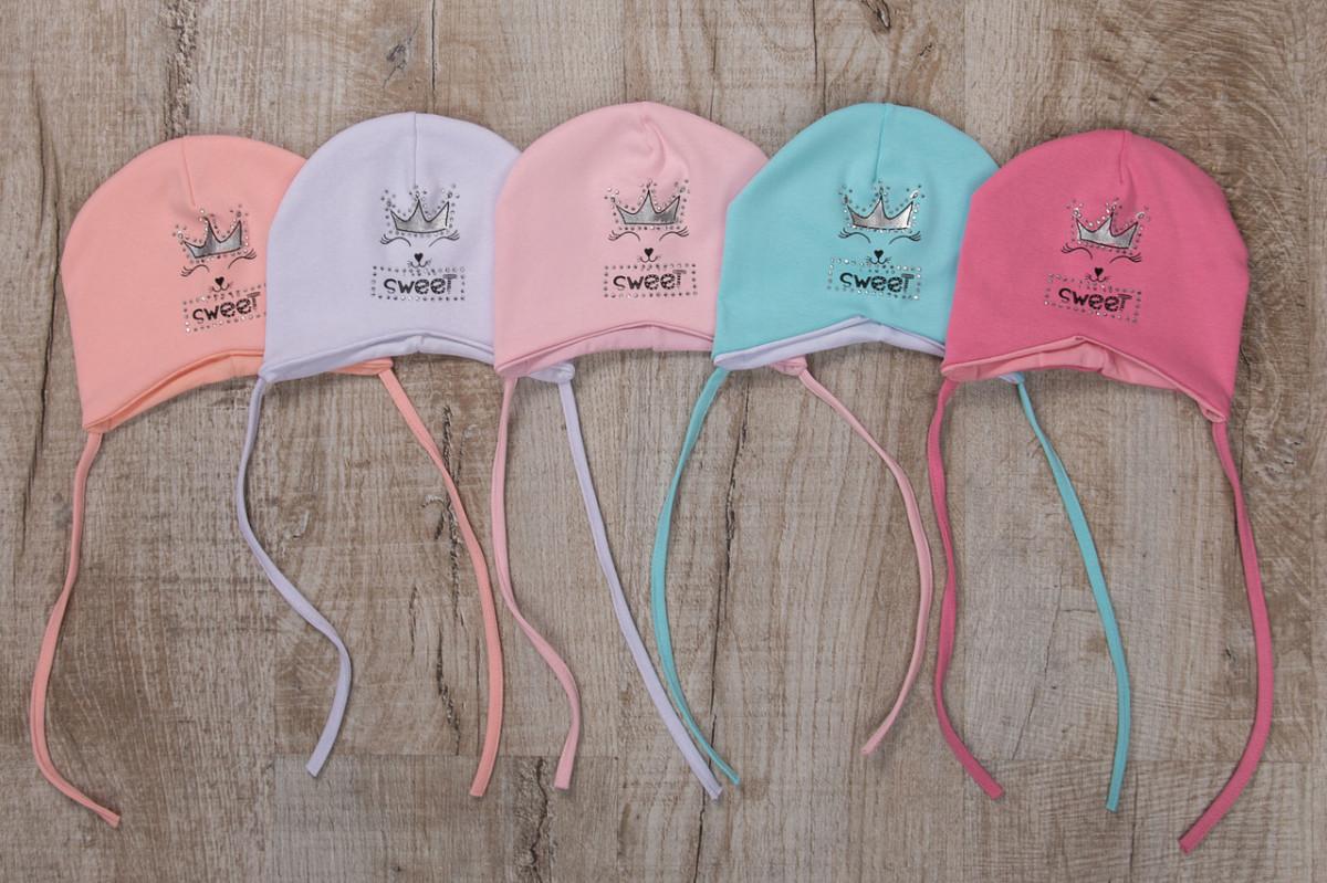 Хлопковая шапка для малышек грудничков на весну - Sweet - Артикул 2368
