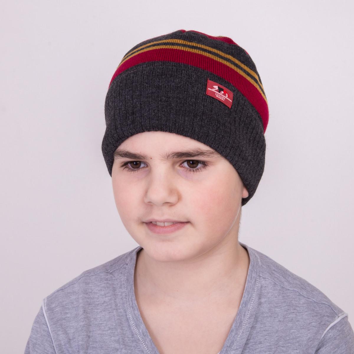 Шапка для мальчика на весну с подгибом - Артикул 1183