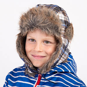 Шапка-ушанка клеточная для мальчика зимняя - Артикул 4100