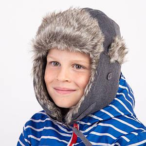 Шапка-ушанка однотонная для мальчика зимняя - Артикул 4104