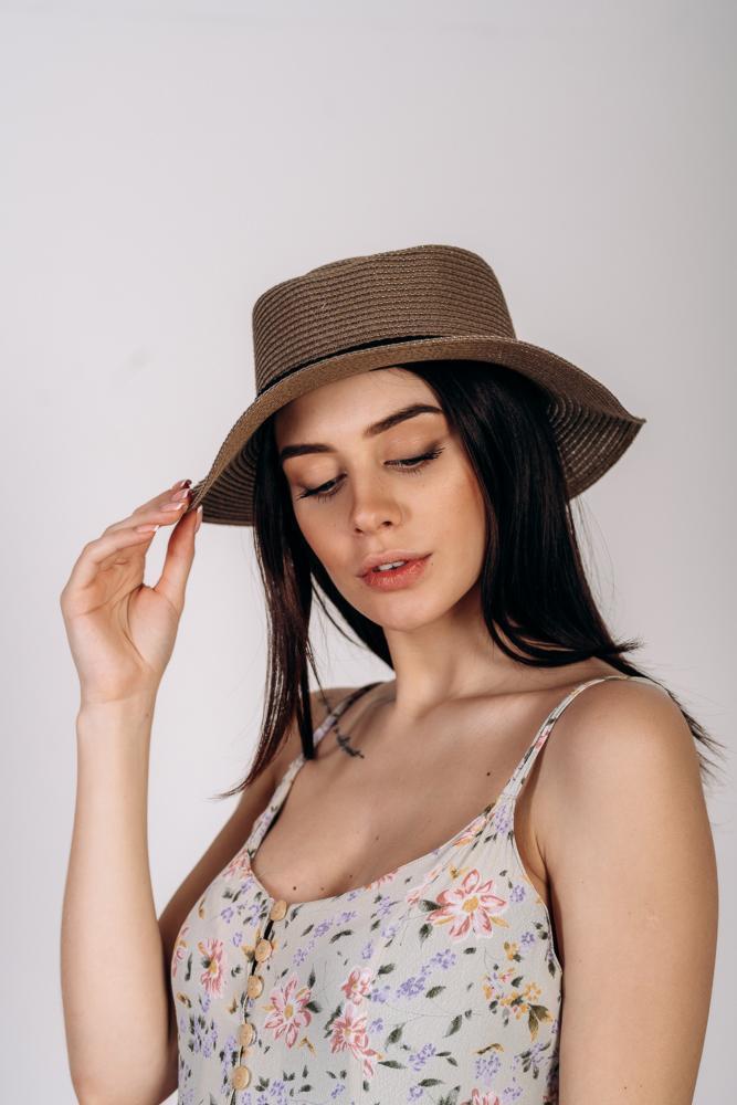 Шляпа канотье Джилл оптом темно-капучиновая
