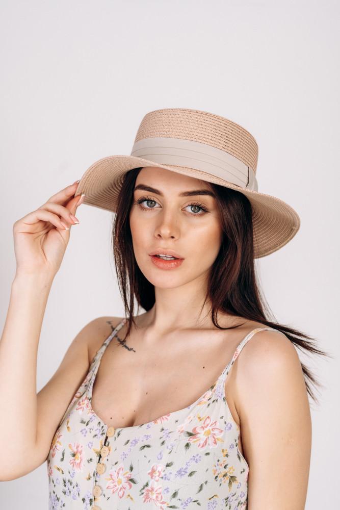 Шляпа канотье Самми оптом пудровая