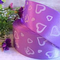 Лента атласная 4 см сердечка маленькие, лиловый