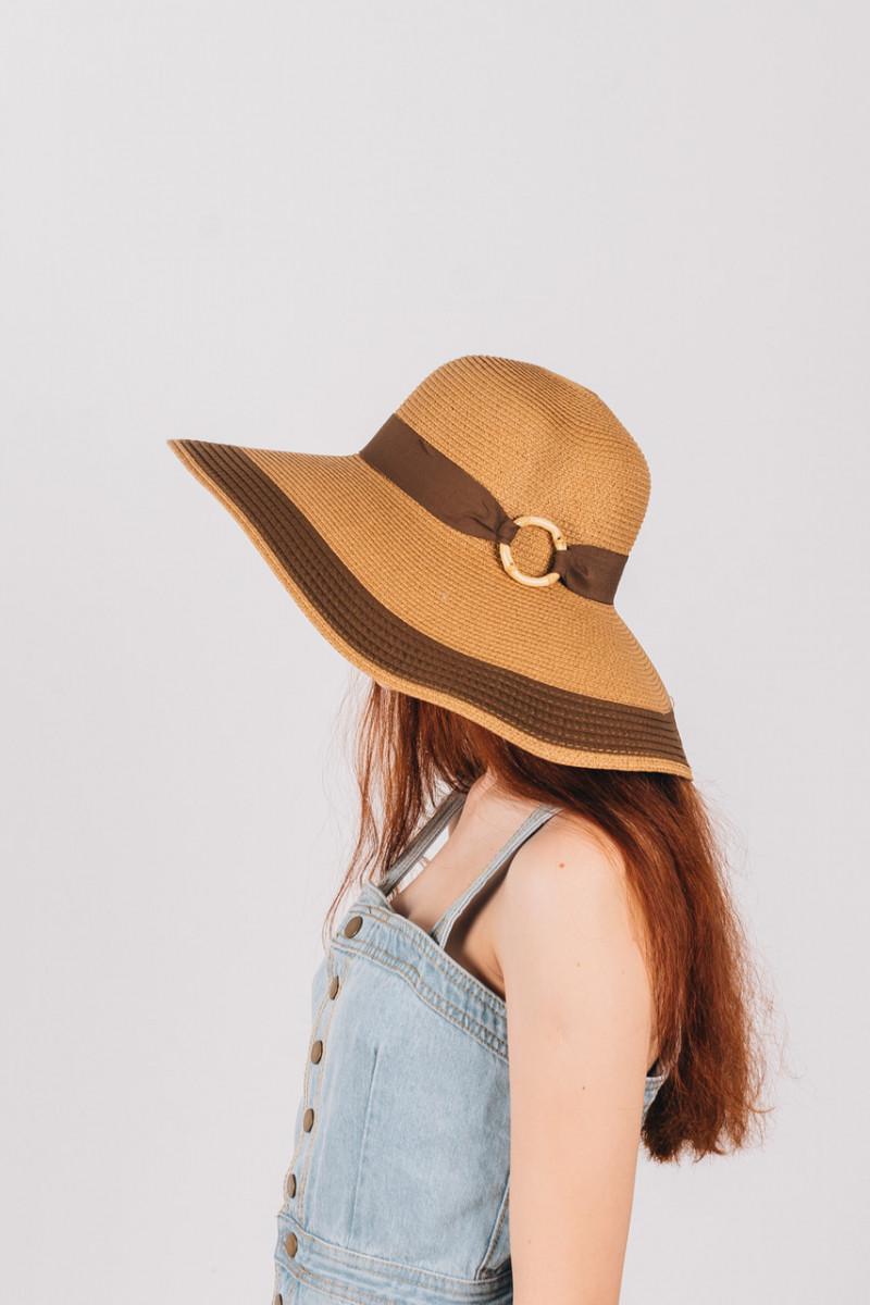 Шляпка широкополая Байс капучиново-шоколадная