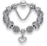 """Браслет женский посеребренный в стиле Пандора PANDORA """"silver heart"""""""