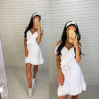 Короткое платье на запах с рюшами белое лето 2020