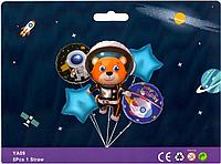 Набор фольгированных шаров Мишка космонавт, 5 шт.