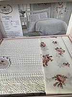 Комплект постельного белья Do&Co Milk с тонким хлопковым покрывалом, Турция