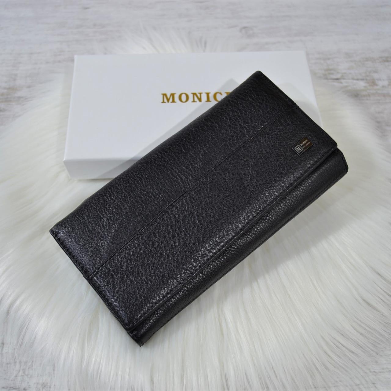 Кошелек Monice Classic из кожи на кнопке черный