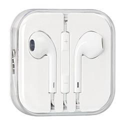 Наушники проводные Copy iPhone 5 White с регулятором громкости