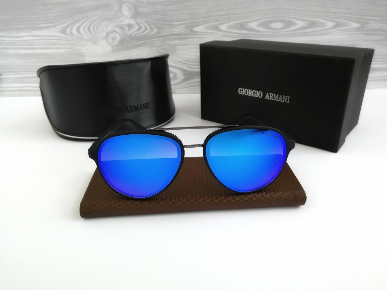 Мужские черные округленные солнцезащитные очки авиатор Armani (реплика)