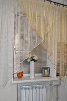 """Тюль на кухню Уголок """"Сетка квадрат"""" Шампань-золото, фото 1"""