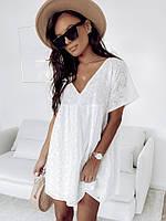 Женское красивое платье прошва в белом цвете