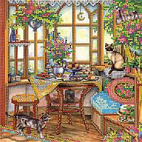"""Схема для вышивания бисером на художественном холсте """"На веранде"""""""