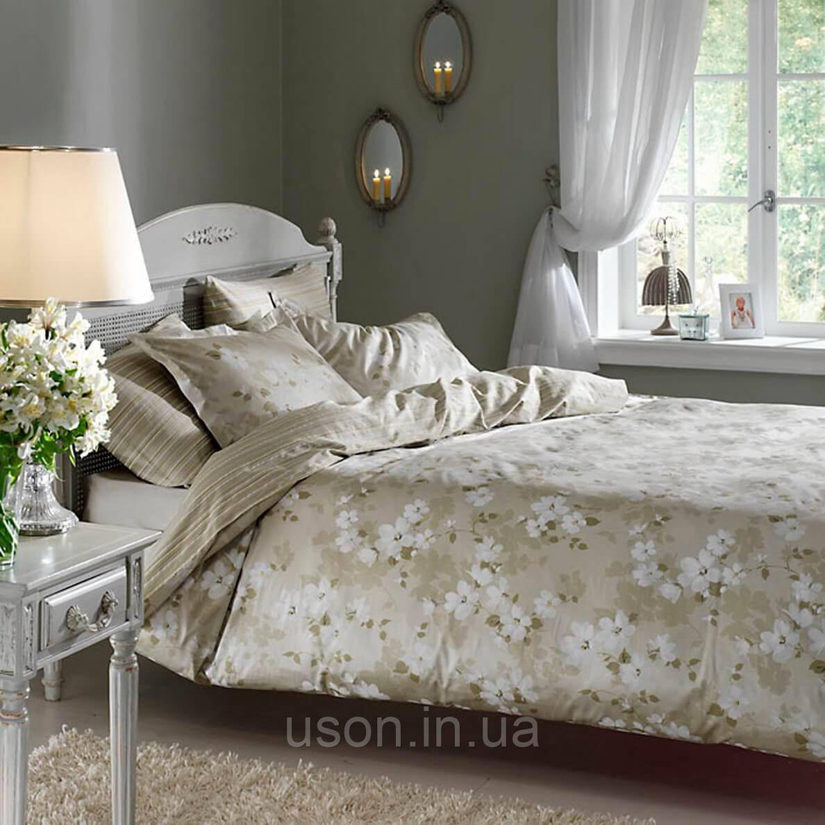 Комплект постельного белья TAC сатин delux  семейный размер Shadow olive