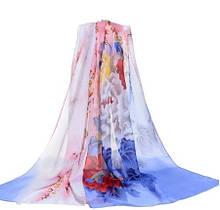 Женский шифоновый шарф с цветами, разноцветный - размер шарфа приблизительно 145*48см, 100% вискоза