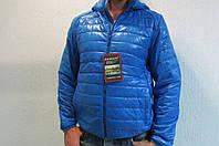Мужская осенняя куртка Remain 70310 голубая с капюшоном код 200б