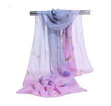 Женский шифоновый шарфик сиреневый с принтом бабочек - размер шарфа приблизительно 145*48см, 100% вискоза