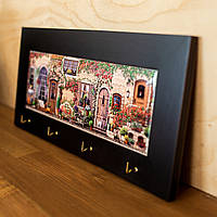 Ключница настенная для дома и кухни из дерева и керамики Allicienti Серия Home темная рама 18х38 см