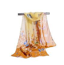 Женский шифоновый шарфик оранжевый с принтом бабочек - размер шарфа приблизительно 145*48см, 100% вискоза