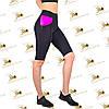 Женские велосипедки бриджи для фитнеса черные  с карманами со вставками фуксия, фото 2