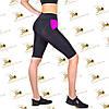 Женские велосипедки бриджи для фитнеса черные  с карманами со вставками фуксия, фото 4