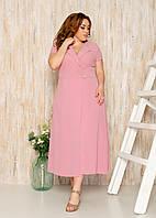 Стильное летнее батальное удлиненное платье еа запах (р.48-58). Арт-4146/32, фото 1