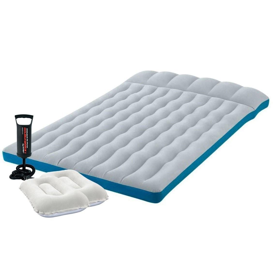 Надувной матрас Intex 127х193х24 см, с двумя подушками, насосом. Полуторный