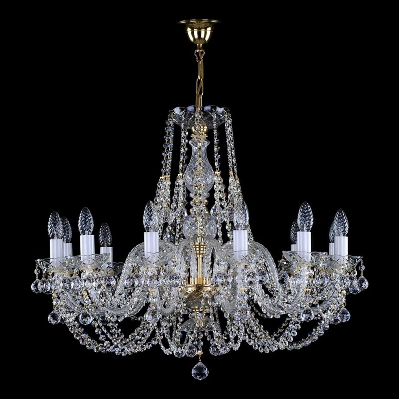 Люстра хрустальная 12 ламповая для большой комнаты  Андула -12