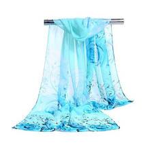 Женский шифоновый шарф с розами, голубой - размер шарфа приблизительно 145*48см, 100% вискоза