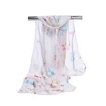 Женский шифоновый шарфик бежевый с принтом бабочек - размер шарфа приблизительно 145*48см, 100% вискоза