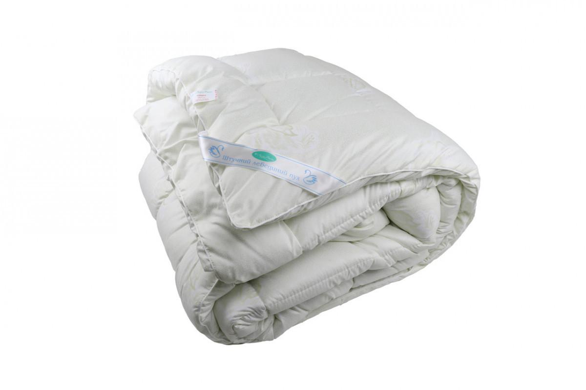 Одеяло закрытое однотонное искусственный лебяжий пух (Микрофибра) Полуторное T-55029