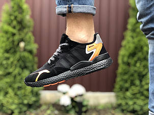 Чоловічі кросівки Adidas Nite Jogger Boost 3M,чорні з помаранчевим, фото 2