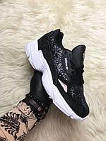 Женские кроссовки Adidas Falcon Black White Diamond, женские кроссовки адидас фалкон