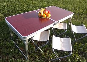 Стол для пикника усиленный с 4 стульями Rainberg RB708 (раскладной чемодан) с регулируемой высотой 55,60,70 см