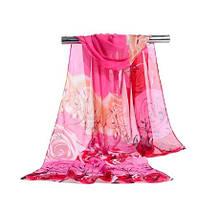 Женский шифоновый шарф с цветами, розовый - размер шарфа приблизительно 145*48см, 100% вискоза