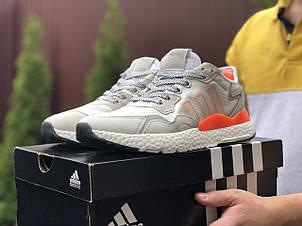 Мужские кроссовки Adidas Nite Jogger Boost 3M,белые с серым, фото 2