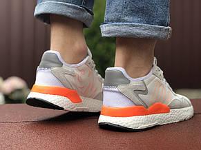 Мужские кроссовки Adidas Nite Jogger Boost 3M,белые с серым, фото 3