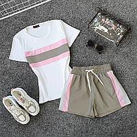 Женский летний спортивный костюм с футболкой и шортами со светоотражающей плащевкой 6605927Q