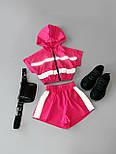 Женский летний спортивный костюм с шортами из плащевки со светоотражающими вставками 6605928Е, фото 2
