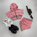 Женский летний спортивный костюм с шортами из плащевки со светоотражающими вставками 6605928Е, фото 4