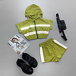 Женский летний спортивный костюм с шортами из плащевки со светоотражающими вставками 6605928Е, фото 5