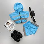 Женский летний спортивный костюм с шортами из плащевки со светоотражающими вставками 6605928Е, фото 6