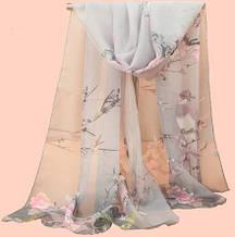 Женский шифоновый шарфик серый с птичками - размер шарфа приблизительно 145*48см, 100% вискоза